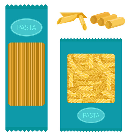 Different types of pasta whole wheat corn rice noodles organic food kitchen yellow nutrition dinner products vector illustration. Cooking spaghetti italy traditional ingredient.