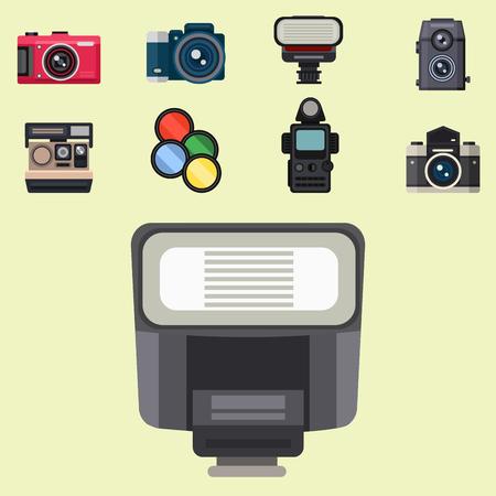 カメラ写真光学レンズは客観的レトロ写真機器プロフェッショナルな外観のベクトル図の種類を設定します。デジタル ヴィンテージ技術電子開口装