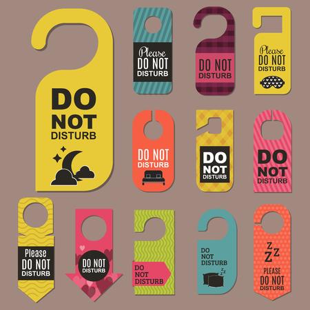 Please do not disturb hotel door quiet motel service room privacy concept vector card hang message .
