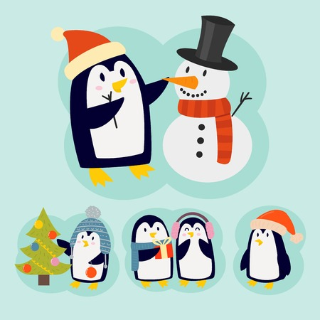 Penguin christmas vector illustration character cartoon funny cute animal antarctica polar beak pole winter bird. Stock Vector - 82986836