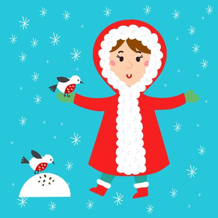 Christmas kid playing winter games girl makes snow man children playing snowballs. Cartoon New Year winter holidays vector character illustration. Illustration