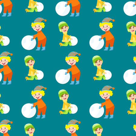 Christmas kids playing winter games seamless pattern makes snow man children playing snowballs. Cartoon New Year winter holidays vector characters illustration.