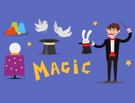 Magician prestidigitator illusionist character tricks juggler vector illustration magic conjurer show cartoon man wizard circus. Surprise entertainment performance illusion magician person profession