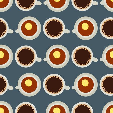 紅茶コーヒー カップ ベクトル イラスト ホット健康ドリンク リラックス食事カフェイン シームレス パターン