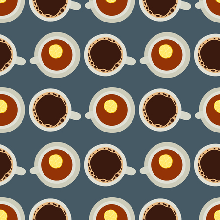 Tea coffee cup vector illustration hot healthy drink relax eating caffeine seamless pattern