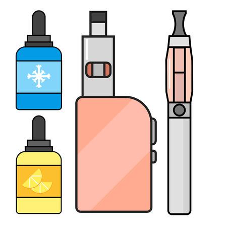 Vape device vector set cigarette vaporizer vapor juice vape bottle flavor illustration battery coil. Trend new culture electronic nicotine liquid. Smoking atomizer device e-liquid. Illustration