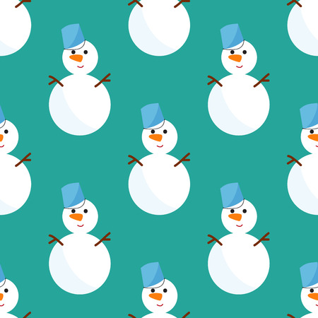 Snowman cold christmas season winter seamless pattern man in hat character xmas background holiday card vector illustration