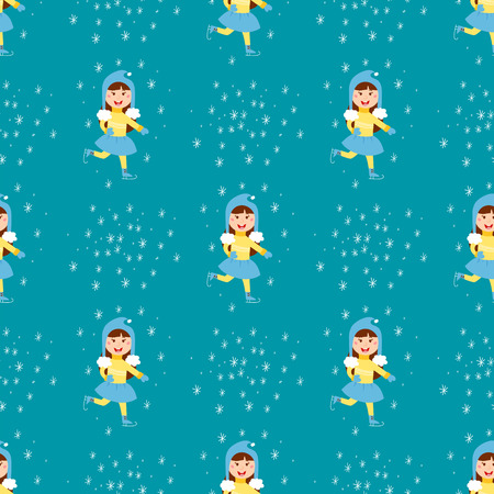 Christmas kids playing winter games children seamless pattern ice-skating cartoon new year winter holidays vector characters illustration.