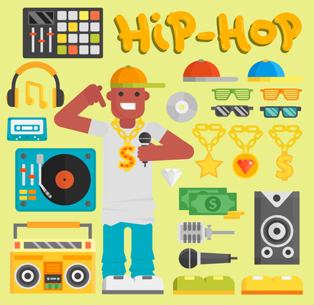 Hip hop man vector musician with microphone breakdance expressive rap modern young rapper guy dancer trendy lifestyle urban