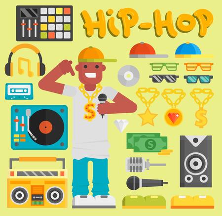 Hip-Hop-Mann Vektor-Musiker mit Mikrofon Breakdance expressive Rap modernen jungen Rapper Kerl Tänzer trendy Lebensstil urban Standard-Bild - 82993602
