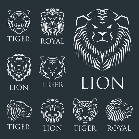 silueta de gato: Tiger head royal badge with beautiful animal vector hand drawn lion face illustration.