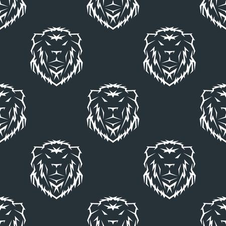 아름 다운 동물 타이거 머리 로얄 원활한 패턴 벡터 그려진 된 사자 얼굴 그림을 손으로. 일러스트