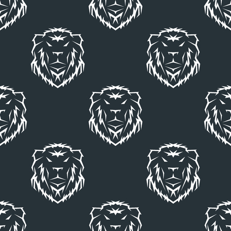 Tiger head royal seamless pattern with beautiful animal vector hand drawn lion face illustration.
