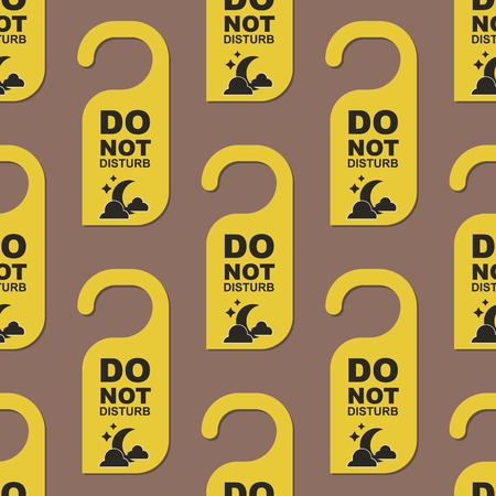 Please do not disturb hotel design. Motel service room privacy seamless pattern. Vector card hang message vacation hanger. Door quiet busy instructions graphic.
