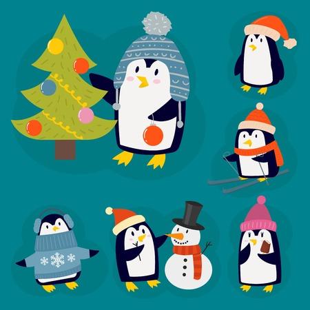 Personagem de ilustração vetorial pinguim Natal. Animal bonito engraçado dos desenhos animados isolado. Antártica bico polar pólo inverno pássaro. Ártico sul da vida selvagem engraçada do ar livre. Foto de archivo - 82993491
