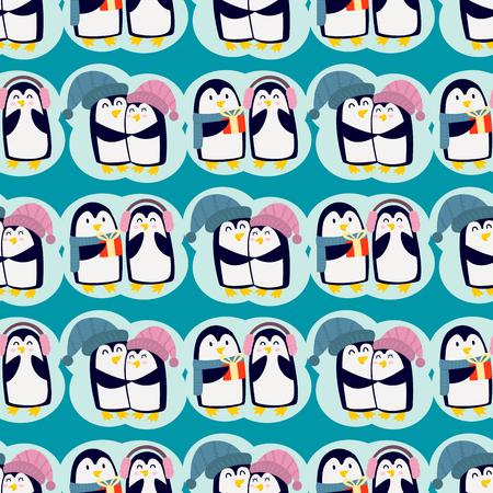 Penguin christmas vector illustration character cartoon seamless pattern animal antarctica polar beak pole winter bird.