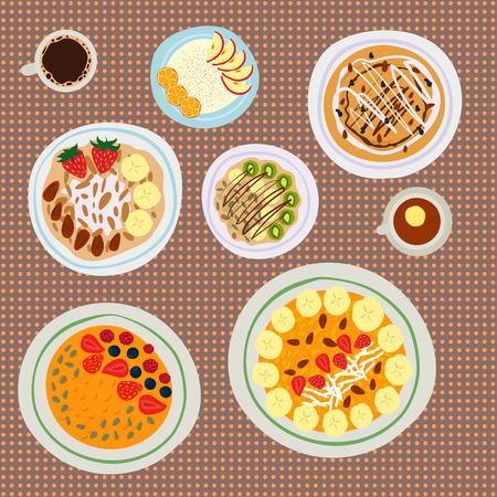 열매와 아침 오트밀 죽 아침 식사, 맛있는, 채식주의, 신선한, 아침 식사, 디저트,