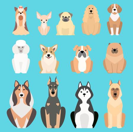 El ejemplo del vector de diversos perros cría los perros planos aislados cría el ejemplo del icono del vector, vector aislado de la raza de los perros planos. Silueta plana de raza de perro Ilustración de vector