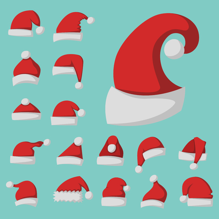Santa claus fashion red hat modern elegance cap winter xmas holiday top clothes vector illustration. Illustration