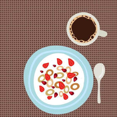 Het havermeelhavermoutpap van het ontbijt met smakelijke heerlijke heerlijke vegetarische verse het eten vectorillustratie van het bessenochtend bovenaanzicht. Stock Illustratie