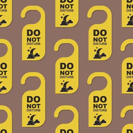 Please do not disturb hotel door quiet motel service room privacy seamless pattern vector card hang message . Ilustrace