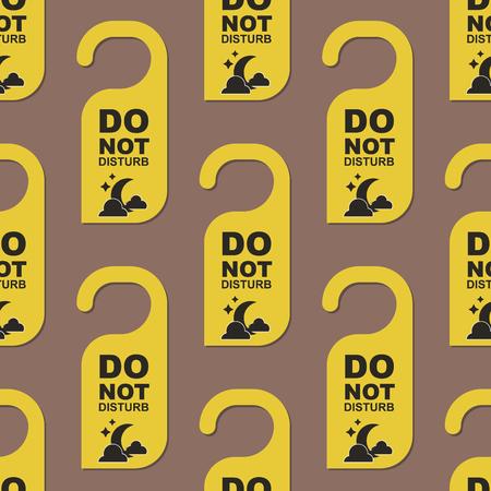 Please do not disturb hotel door quiet motel service room privacy seamless pattern vector card hang message . Ilustração