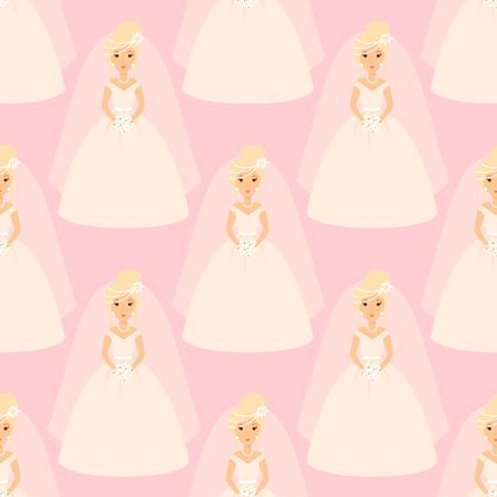 Hochzeit Bräute Füße Vektor-Illustration Feier Ehe Mode Frau Muster nahtlose Mädchen weißes Kleid Kleid Standard-Bild - 83144163