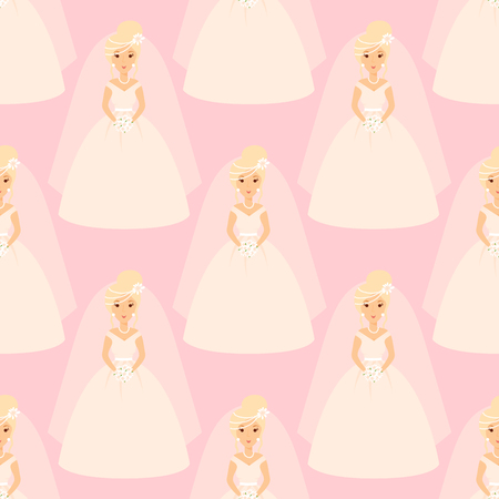 Wedding brides characters vector illustration celebration marriage fashion woman seamless pattern girl white ceremony dress