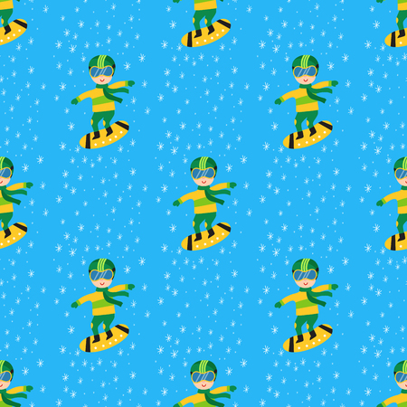 Christmas kids playing winter games children seamless pattern snowboarding cartoon snowboarder holidays vector characters illustration.