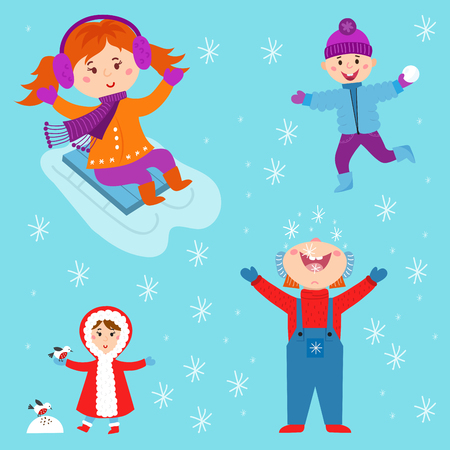 Christmas kids playing winter games children playing snowballs cartoon new year holidays vector characters illustration. Illustration