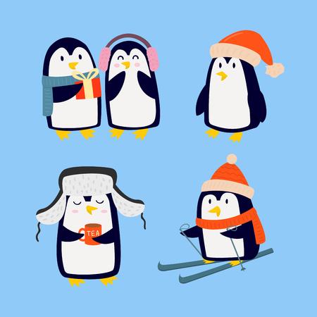 Pinguim natal ilustração vetorial caráter cartoon engraçado animal bonito antarctica polar bico poste pássaro de inverno. Foto de archivo - 83144229