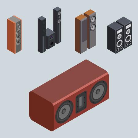 Accueil système de son isométrique stéréo acoustique 3d vecteur musique haut-parleurs lecteur technologie subwoofer équipement. Banque d'images - 83149358