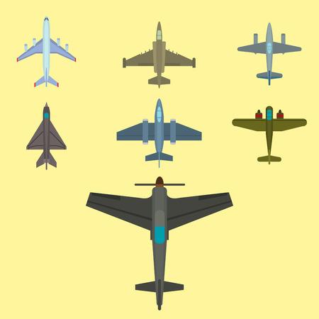 ベクトル飛行機図平面図と航空機輸送方法デザイン旅オブジェクトを旅行します。 写真素材