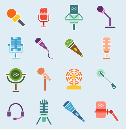 Different microphones icons Иллюстрация