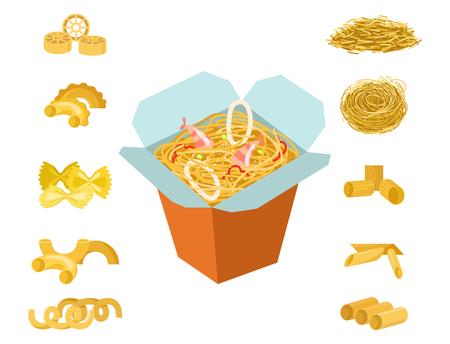 Different types of pasta illustration Çizim