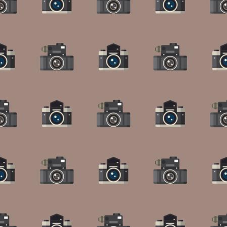 Camera photo optic lenses seamless pattern objective retro photography equipment professional look vector illustration