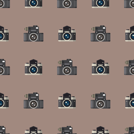 Camera photo optic lenses seamless pattern objective retro photography equipment professional look vector illustration