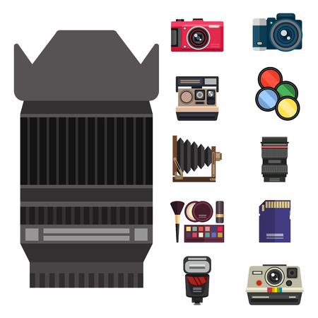 カメラ写真光学レンズ設定種類客観的レトロ写真機器プロフェッショナルな外観のベクトル図