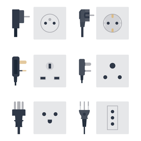 Electric outlet vector illustration energy socket electrical outlets plugs european appliance interior icon. Wire cable cord connection electrical double american supply. 向量圖像