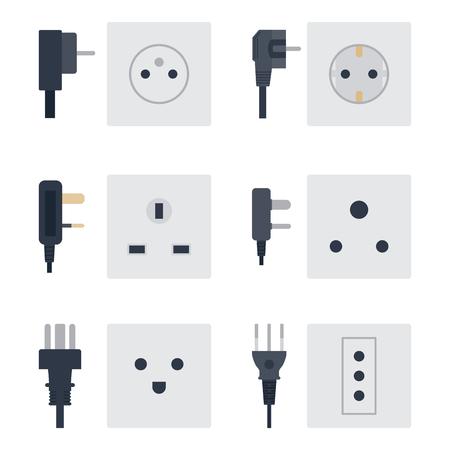 Stopcontact vector illustratie energie stopcontact stopcontacten stekkers Europese apparaat interieur pictogram. Kabelsnoeraansluiting elektrische dubbele amerikaanse voeding.