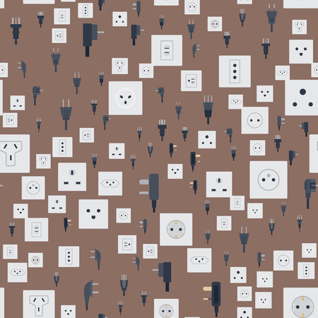 Electric outlet vector illustration energy socket electrical outlets plugs seamless pattern european appliance interior icon. Illustration