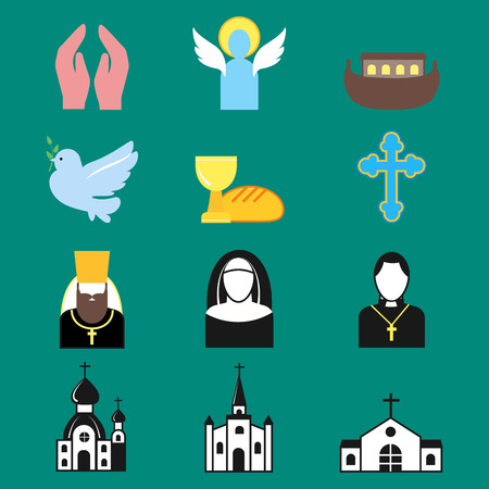 Christianity religion flat icons vector illustration of traditional holy religious silhouette praying people