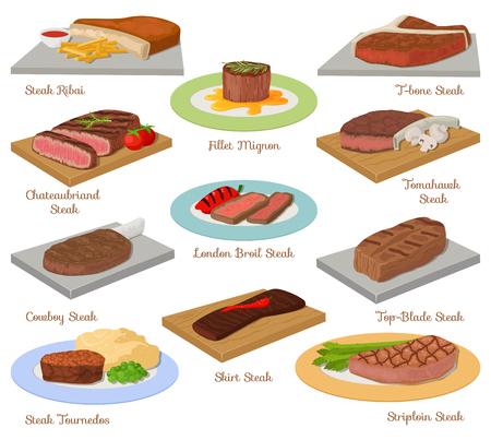 Różnej wołowina stek surowej mięsnej karmowej czerwonej świeżej rżniętej masarki uncooked grilla bbq plasterka składnika wektoru ilustracja Ilustracje wektorowe