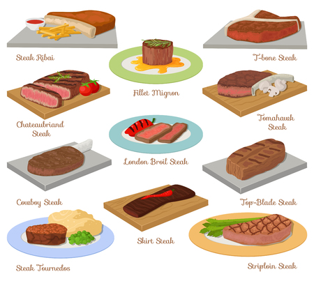 Different beef steak raw meat food red fresh cut butcher uncooked barbecue bbq slice ingredient vector illustration Stock Illustratie