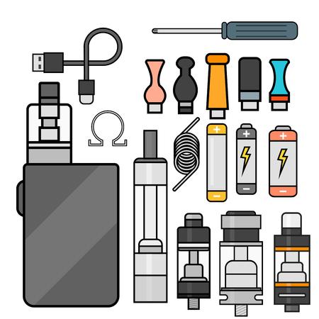 アーク デバイス ベクトルは、シガレット気化蒸気ジュース ボトル味図バッテリー コイルを設定します。 写真素材 - 83230869
