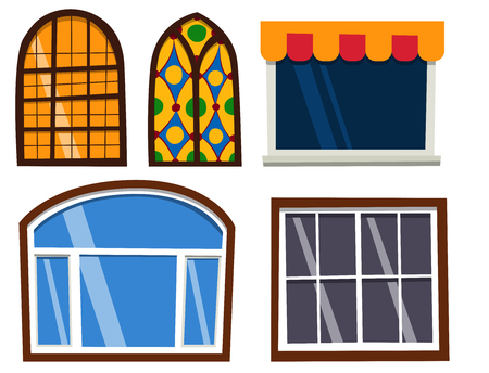 Different types house windows elements flat style frames construction decoration apartment vector illustration. Stock Vector - 83423893