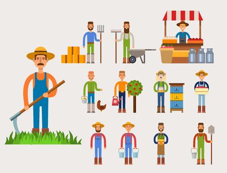 재미 있은 농부 캐릭터 격리 된 만화 남자 농업, 사람, 행복한, 목장, 직업, 농부, 정원사, 노동자, 귀여운 인간 음식 직업.