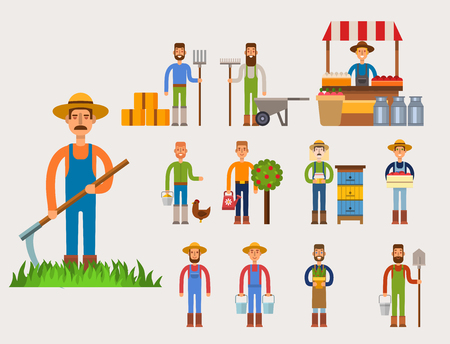 Funny farmer character isolated cartoon man agriculture person and happy rancher profession rural farming gardener worker people vector illustration. Cute human food occupation.