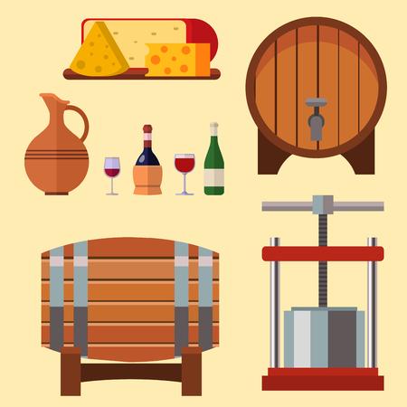 Wijnmakerij die van de de wijngaardglas van de oogstkelder van de de drankindustrie de vectorillustratie van de de alcoholproductie maken