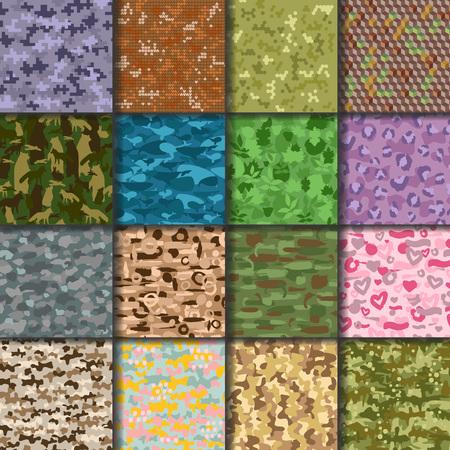 De universele handdrawn naadloze patroonsamenvatting vult militaire of jagers vectorillustratie als achtergrond. Stockfoto - 83149073
